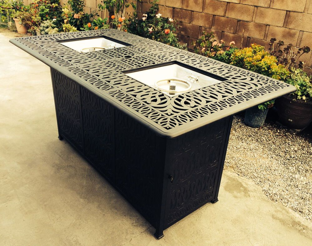 Outdoor Propane Fire Pit Bar Height Double Burner Table with regard to proportions 1000 X 791