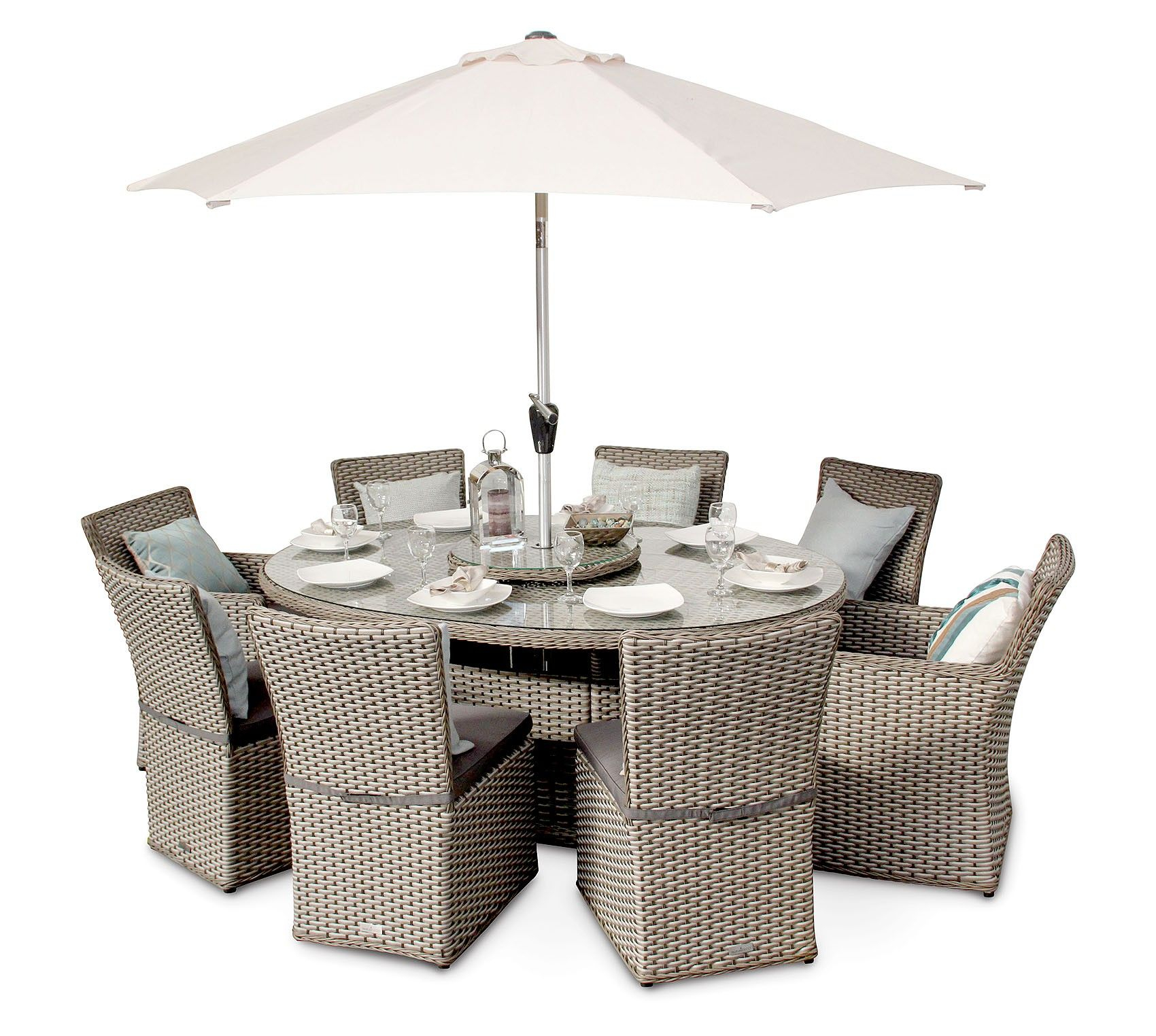 Richmond 8 Seater Rattan Oval Garden Dining Table Set within proportions 1700 X 1524