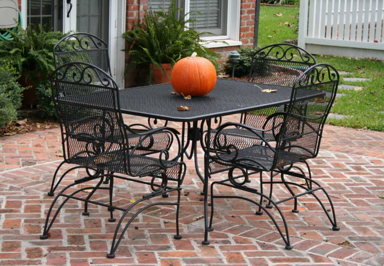 Stylish Wrought Iron Table And Chair Rectangular Patio Set for dimensions 1261 X 874