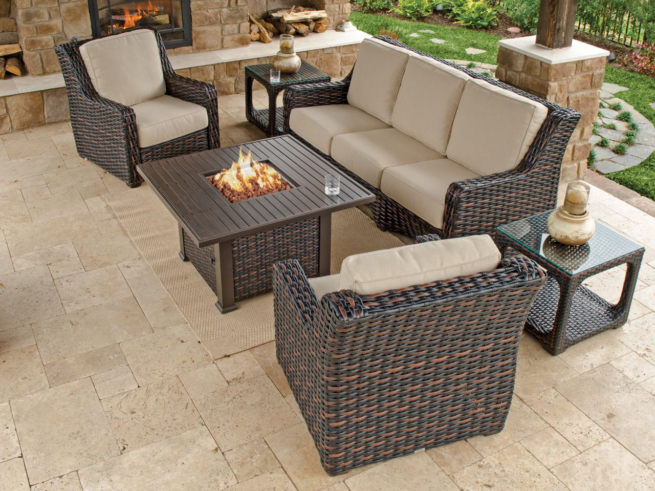 Tangiers 4 Pc Aluminum Resin Wicker Fire Pit Sofa Group throughout proportions 1280 X 959