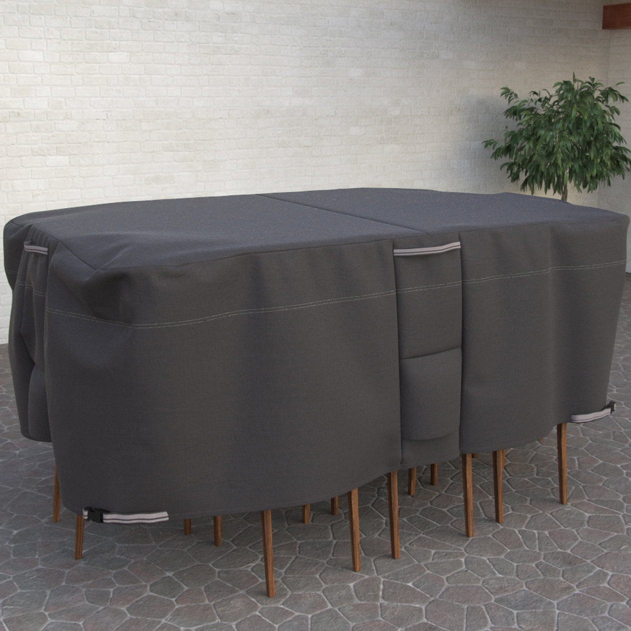 Taupe Collection Oval Rectangle Patio Table And Chair Cover Premium Outdoor Furniture Cover With Durable And Water Resistant Fabric Large with regard to proportions 1260 X 1260