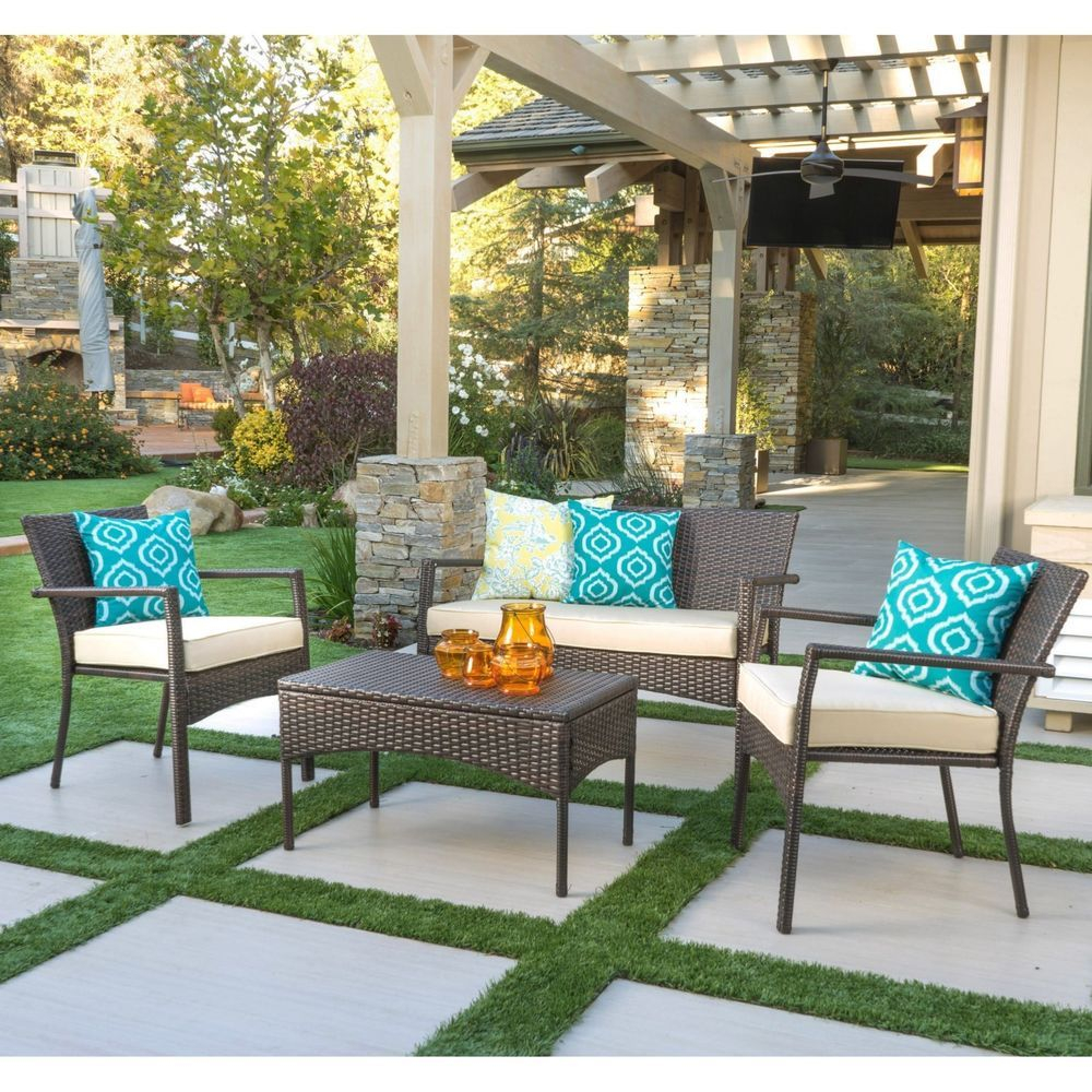 Top Ouality Outdoor 4 Piece Wicker Chat Set With Cushions intended for sizing 1000 X 1000