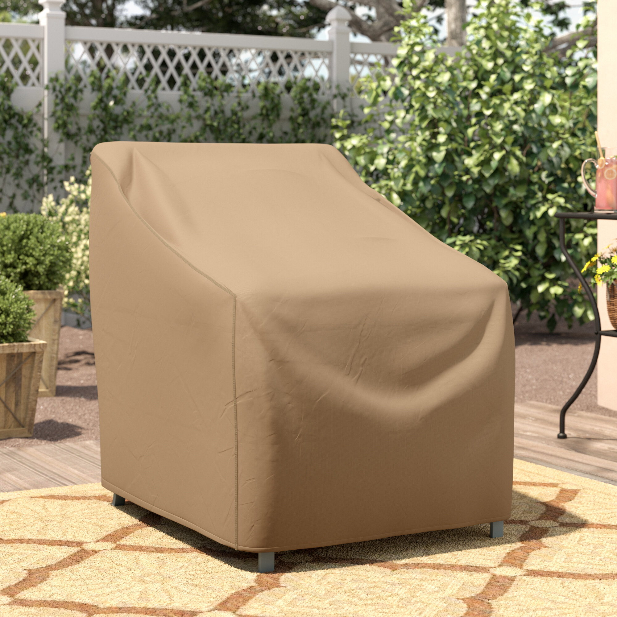 Wayfair Basics Patio Chair Cover With Tie Fastener In 36 H X 32 W X 37 D regarding proportions 2000 X 2000