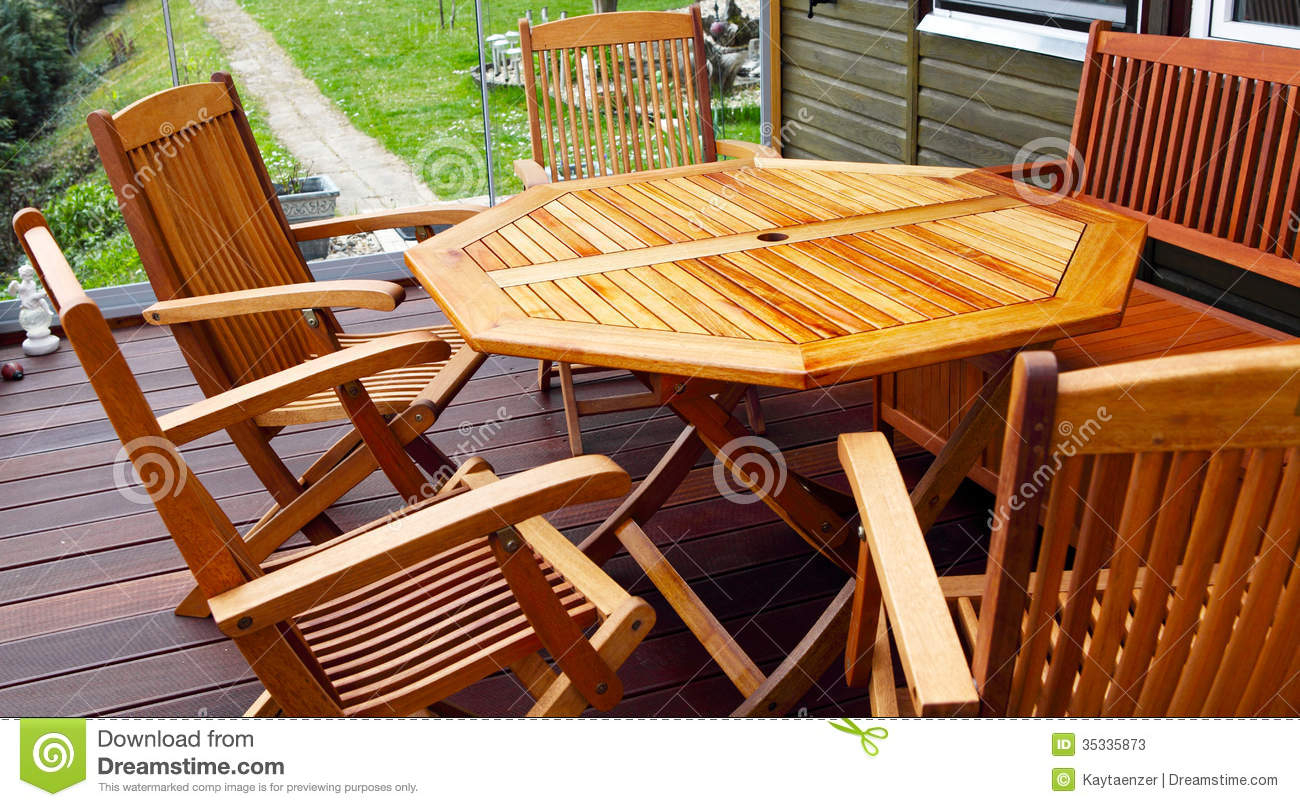 Wood Patio Furniture Stock Image Image Of Garden Glass with regard to proportions 1300 X 807